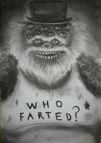 WHO FARTED?, CHARCOAL ON PAPER, 25 X 42 INCHES, 2010