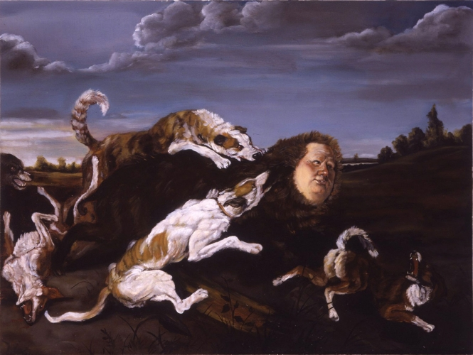UNRELENTING DOGGEDNESS, OIL ON PANEL, 18 X 24, 2007
