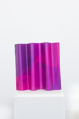 MICHAEL VICKERS | WARM AIR OVER  | PERFORATED VINYL AND SPRAY PAINT ON ANODIZED ALUMINUM | 14.5 X 14 X 3 INCHES | 2015
