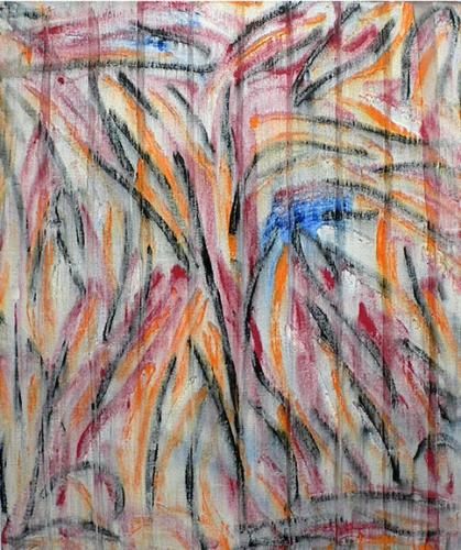 Charles Arnoldi Flush, oil on canvas, finger painting
