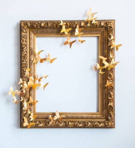 Legacy IV gold framed piece with butterflies