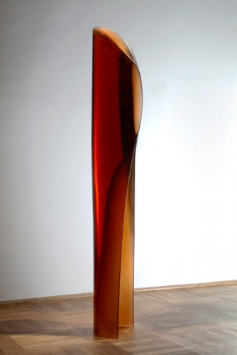 Vladimira Klumpar's honey colored cast glass sculpture