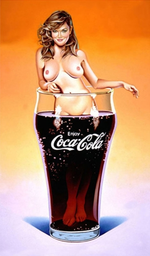 Mel Ramos' The Pause that Refreshes print in coca cola glass