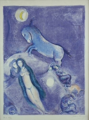 Marc Chagall He Went Up The Couch and Found a Young Lady Asleep (From Four Tales from the Arabian Nights) 1948 Lithograph