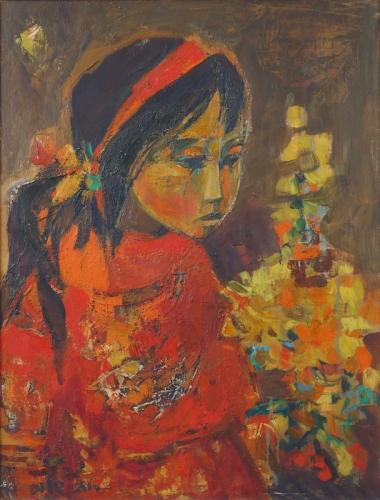 Ruth Schloss Israeli Girl in Red Oil on Canvas