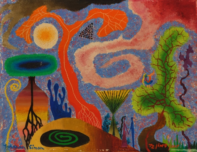 Yohanan Simon Swirl into Upright Oil on Canvas 1972