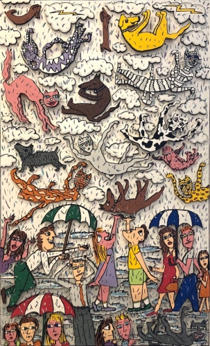 james rizzi its raining cats and dogs 1996 3d construction