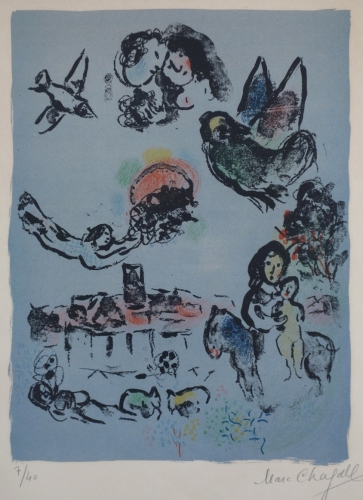Marc Chagall Nocturne At Vence 1963 Lithograph