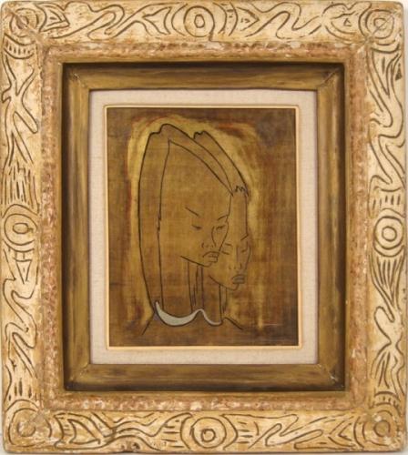 Angel Botello Haitian Girls Oil and Gold Leaf on Masonite Signed