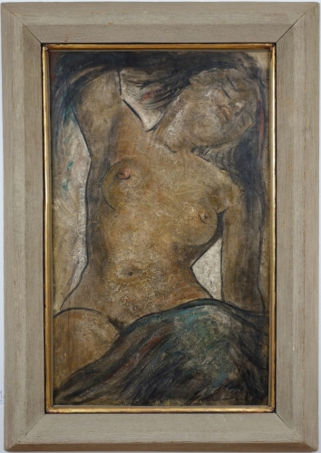 Angel Botello Nude Oil on Masonite Signed