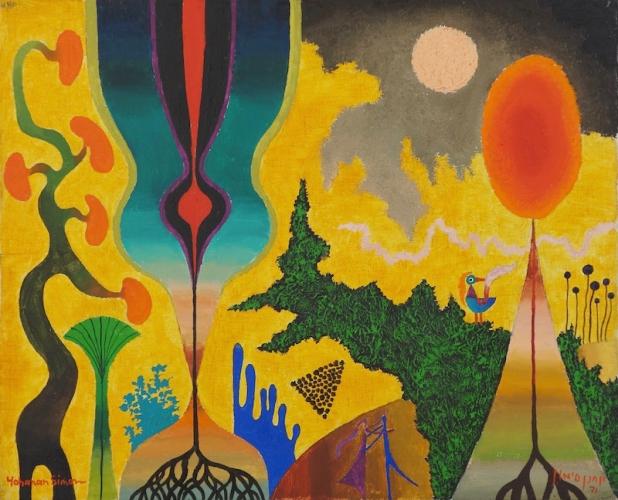Yohanan Simon Israeli Unité Mouvementée Oil on Canvas 1971