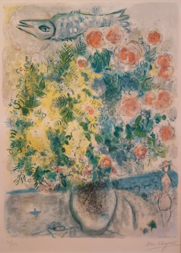 Marc Chagall Roses and Mimosas Lithograph 1967