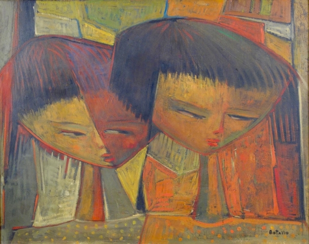 Angel Botello Artist's Children Oil on Board Circa 1960's
