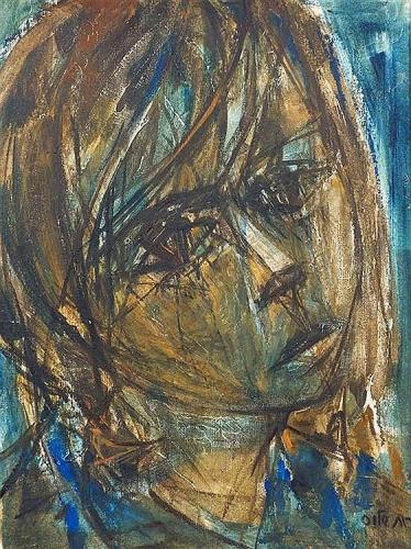 Ruth Schloss Portrait of a Girl Oil on Board