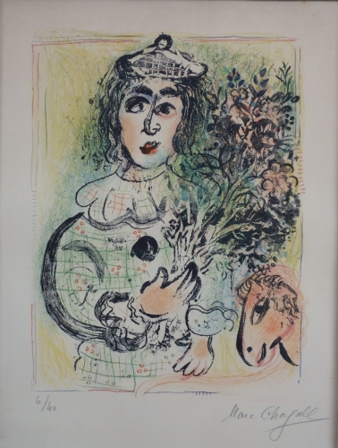 Marc Chagall Clown With Flowers 1963 Lithograph