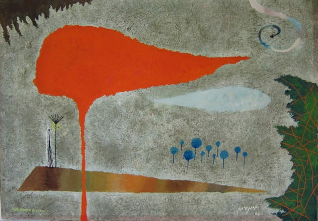 Yohanan Simon Gouache on Paper Abstract 1963