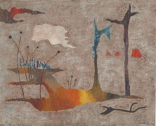 Yohanan Simon Abstract Landscape Oil on Canvas 1961
