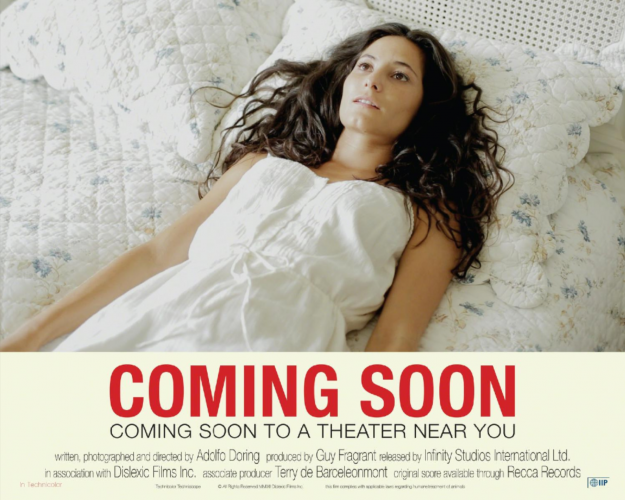 Placart or Lobby Card for COMING SOON Coming soon to a theater near you (Girl on Bed)