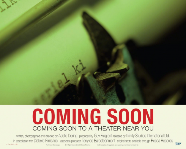 """Placart for """"COMING SOON"""" COMING SOON TO A THEATER NEAR YOU (Typewriter)"""