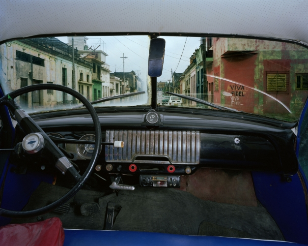 ALEX HARRIS  San Anastasio and Concepción, Lawton, looking north from Félix Rodriguéz López's 1952 Chevrolet, Havana May 26, 1998