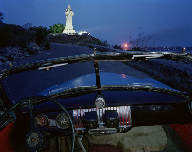 ALEX HARRIS  El Cristo de Casablanca, looking west from Ricardo Moya Silveira's 1951 Chevrolet, Havana May 24, 1998