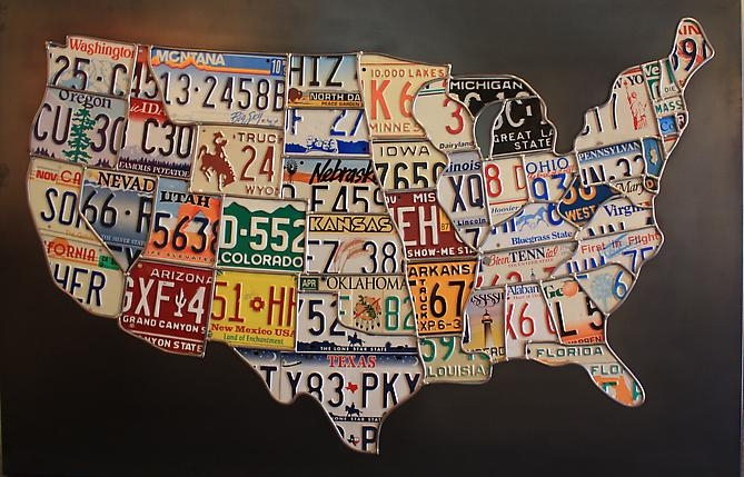 License Plate Art United States - Us map made out of license plates