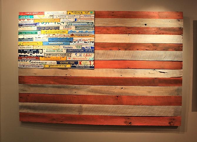 License plates on an american flag american flag with license plates solutioingenieria Images