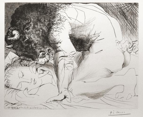 Minotaure caressant une dormeuse