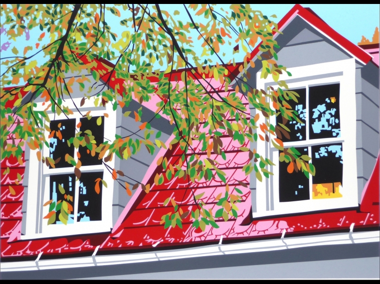 serigraph of red roof house by Joseph Craig English