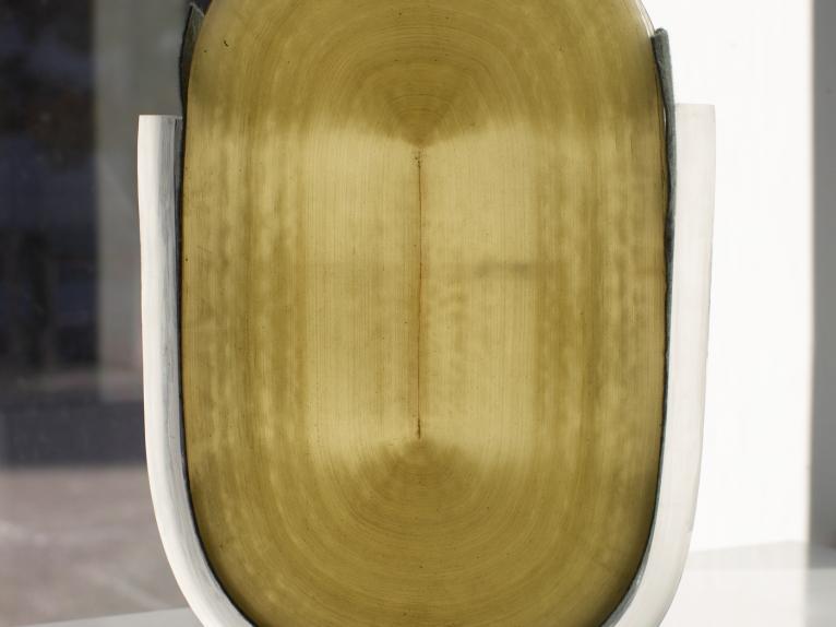 "Melissa DelPrete Citrine oil on masonite 5"" by 5"" alt"