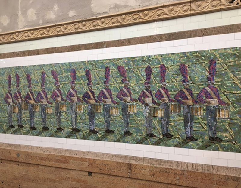 """Derek Fordjour's Mosaic """"Parade"""" Installed at 145th St. Station By MTA Arts & Design"""