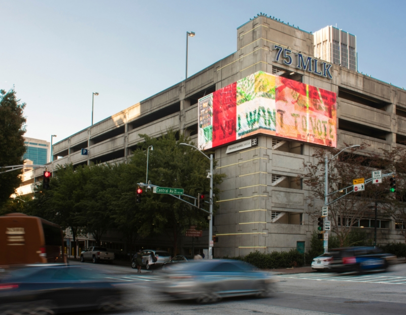 "Tomashi Jackson creates a billboard for ""Art For Action,"" organized by Orange Barrel Media and the Wexner Center for the Arts"