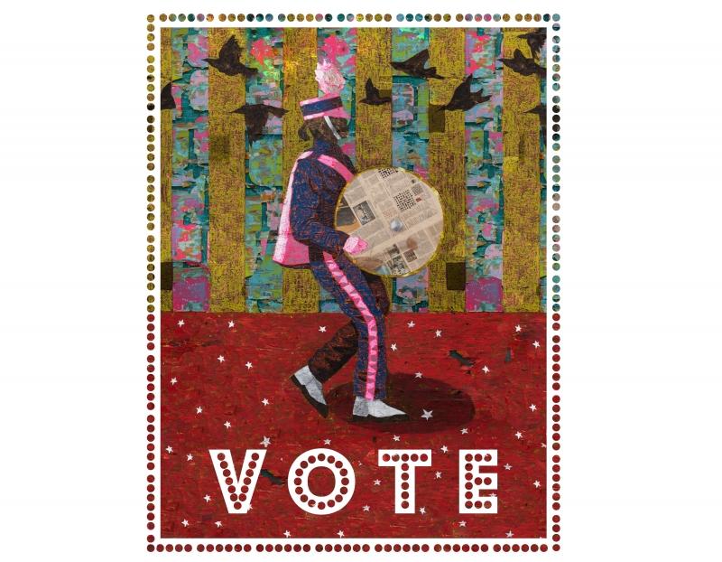 Derek Fordjour creates new political poster for W Magazine