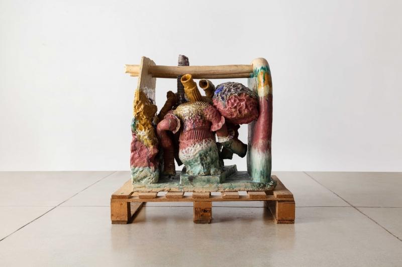 """Pernille Pontoppidan Pedersen,(Danish, b.1987).Making Has Kin in It,2021.30.75"""" H x 31.5"""" W x 23.75"""" D.Glazed stoneware and pallet.Photo by Joe Kramm"""