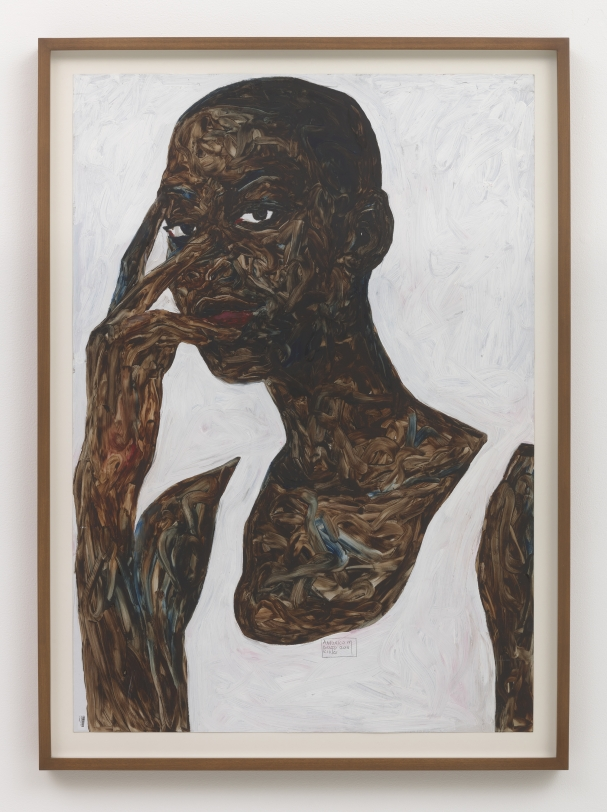 Amoako Boafo Looking Through Two Fingers, 2018