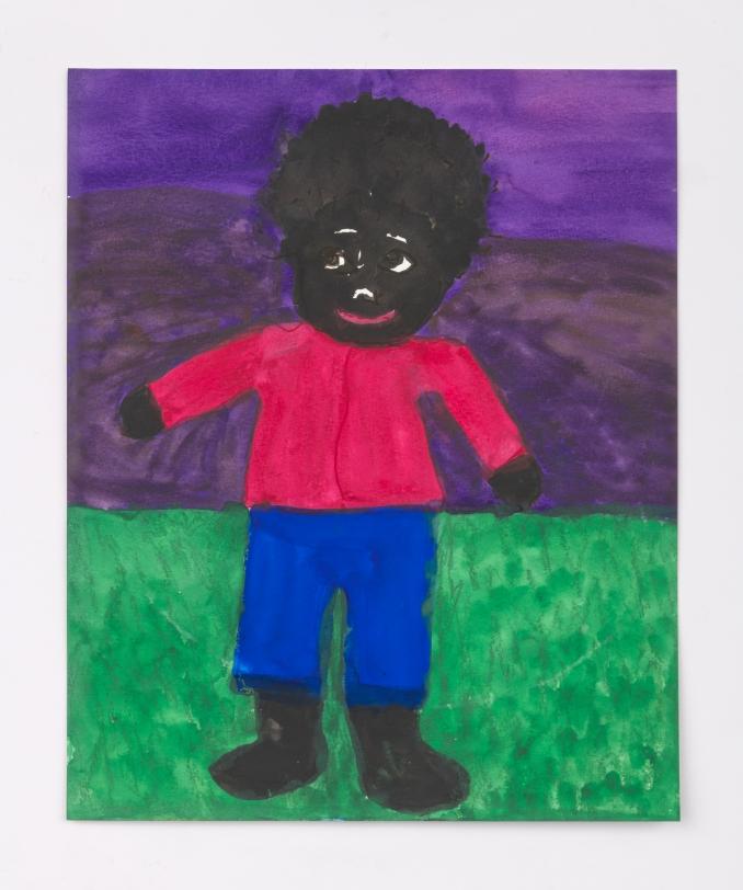 Betye Saar, Boy on Green Grass with Purple Sky, 2020