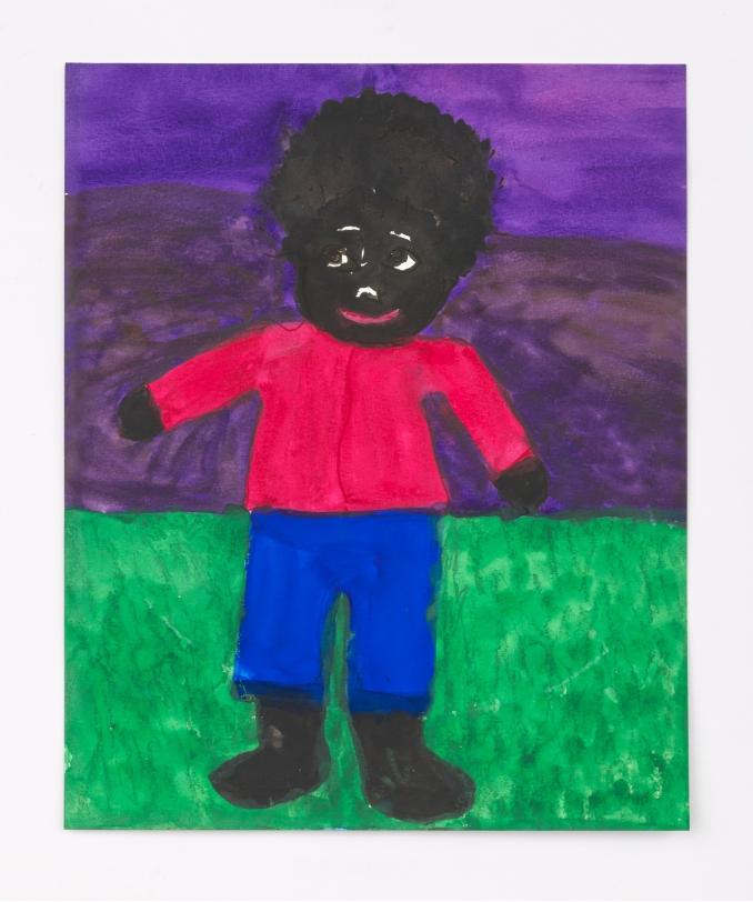 Betye Saar Boy on Green Grass with Purple Sky, 2020