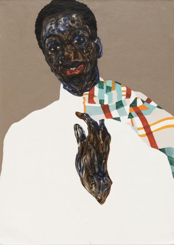 Amoako Boafo, Multicolored Overcoat, 2021