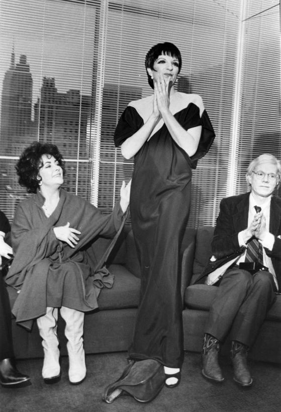 Bill Cunningham - Elizabeth Taylor, Liza Minelli (in Halston) and Andy Warhol, 1979 Gelatin silver print, printed c. 1979 ; Bruce Silverstein Gallery