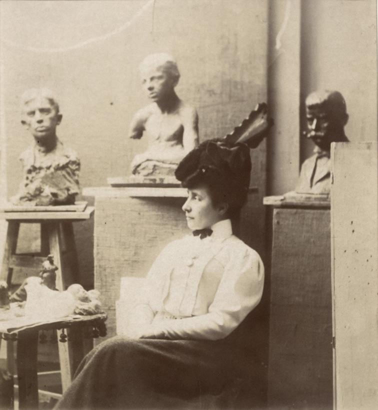 Constantin Brâncuşi - Otilia Cosmutza Bölöni in Brancusi's Studio, 1910 Gelatin silver print ; Bruce Silverstein Gallery