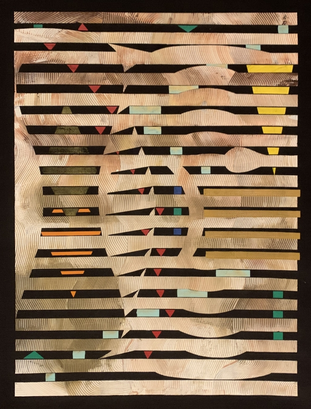 Adger Cowans ; African Suite Series, 1970 Acrylic on black canvas 60 x 51 inches ; Bruce Silverstein Gallery