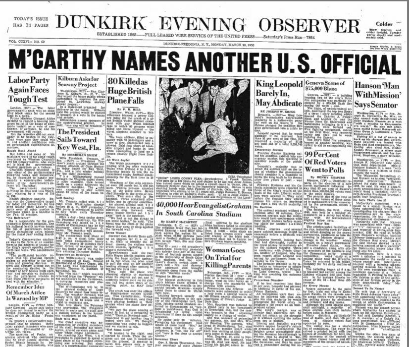 Lesson Four: Senator McCarthy and the Press