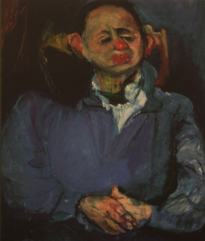 Image of the front cover of the book Soutine / Bacon which features Chaim Soutine's painting, Portrait of the Sculptor, Oscar Miestchaninoff, 1923-24