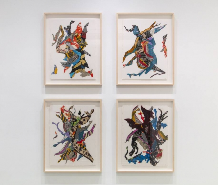 Four framed abstract compositions hung in a grid pattern, each consisting of various vibrantly colored textiles pressed and glued into shapes which suggest dancing figures.