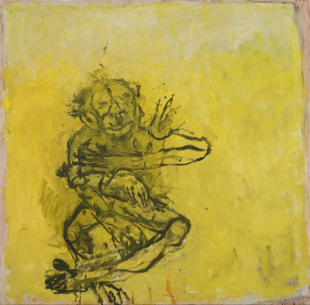 black outline of a monkey-like figure sitting with legs and arms crossed in front of a bright yellow blackground