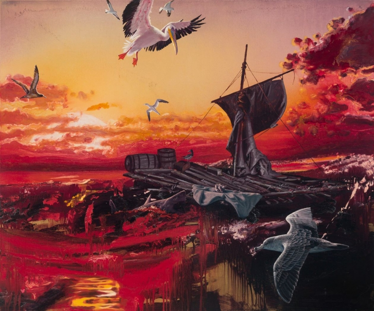 Alexis Rockman's 'Medusa' (2020) pays homage to Théodore Géricault's famous painting 'The Raft of the Medusa' (1818-19). Seabirds encircle a wrecked raft washed ashore as a bloody sunset unfolds in the background.