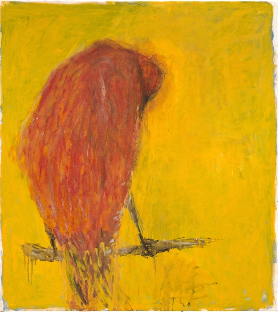 painting of a red bird from behind standing on a branch in front of a bright yellow background