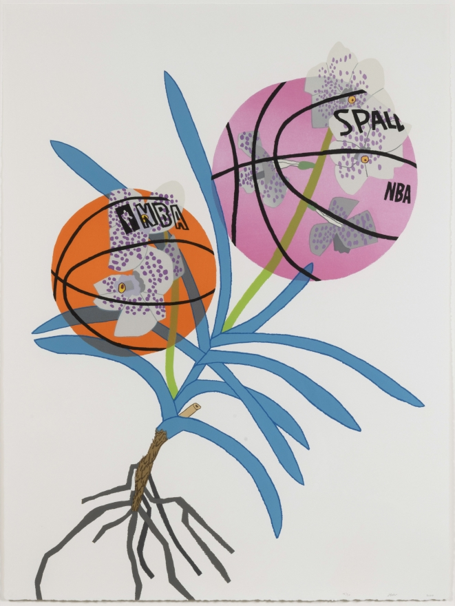 Jonas Wood, Double BasketBall Orchid 2 (State II), 2020, Lithograph