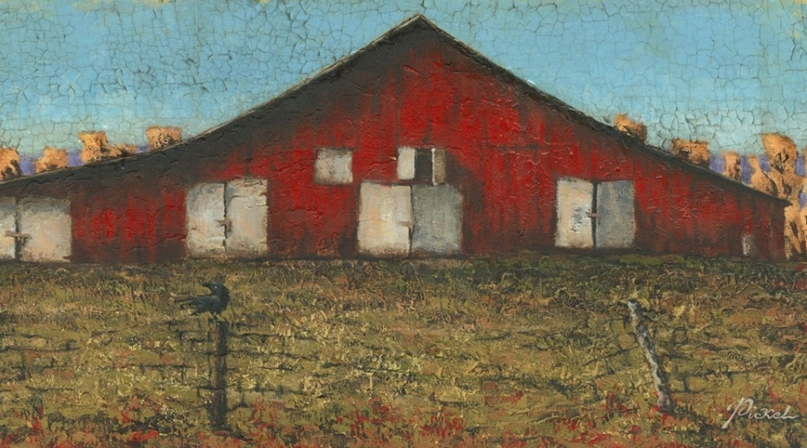 """Old Red Barn"" by Hal Pickel 30""x15"" oil on panel"