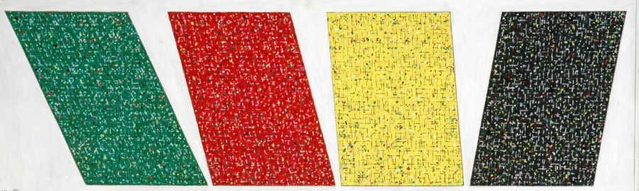 Kes Zapkus, Study for Traffic, 1975, Acrylic, crayon on paper, 12.125 x 38.75